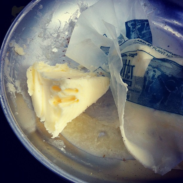 The bird pecked our butter.