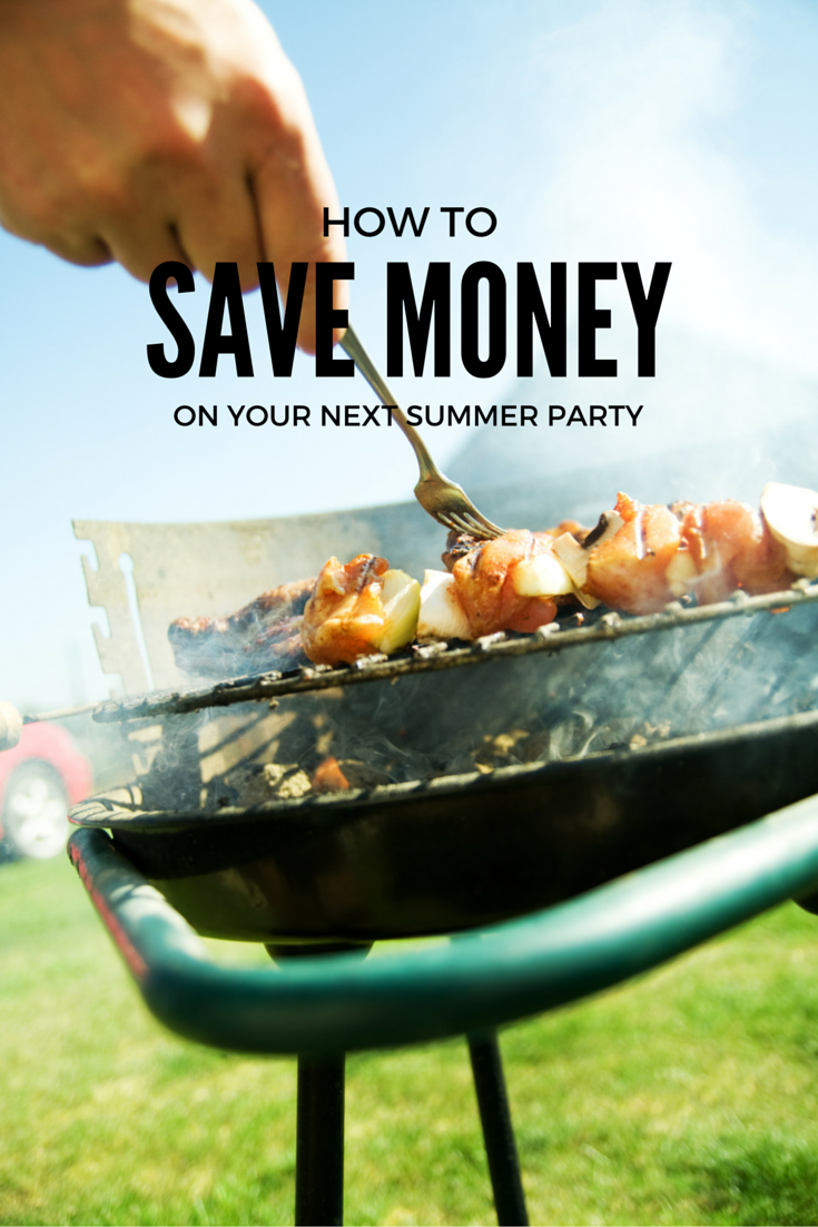 How to Save Money on Your Next Summer Party - image showing food on a gril in a backyard for planning a summer party