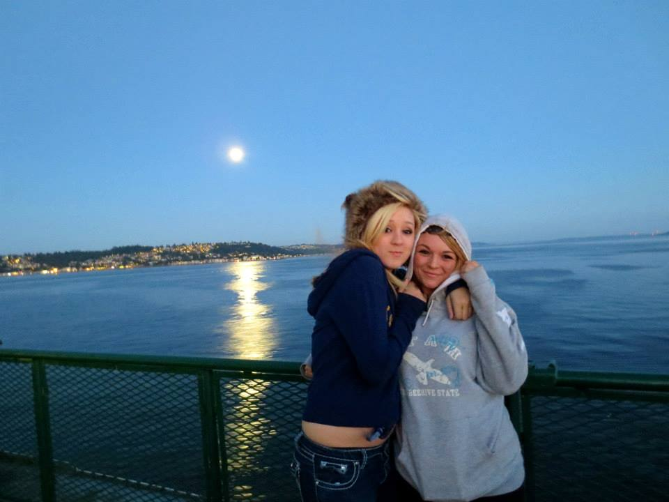 Courtney and Aspen on the ferry leaving Seattle.