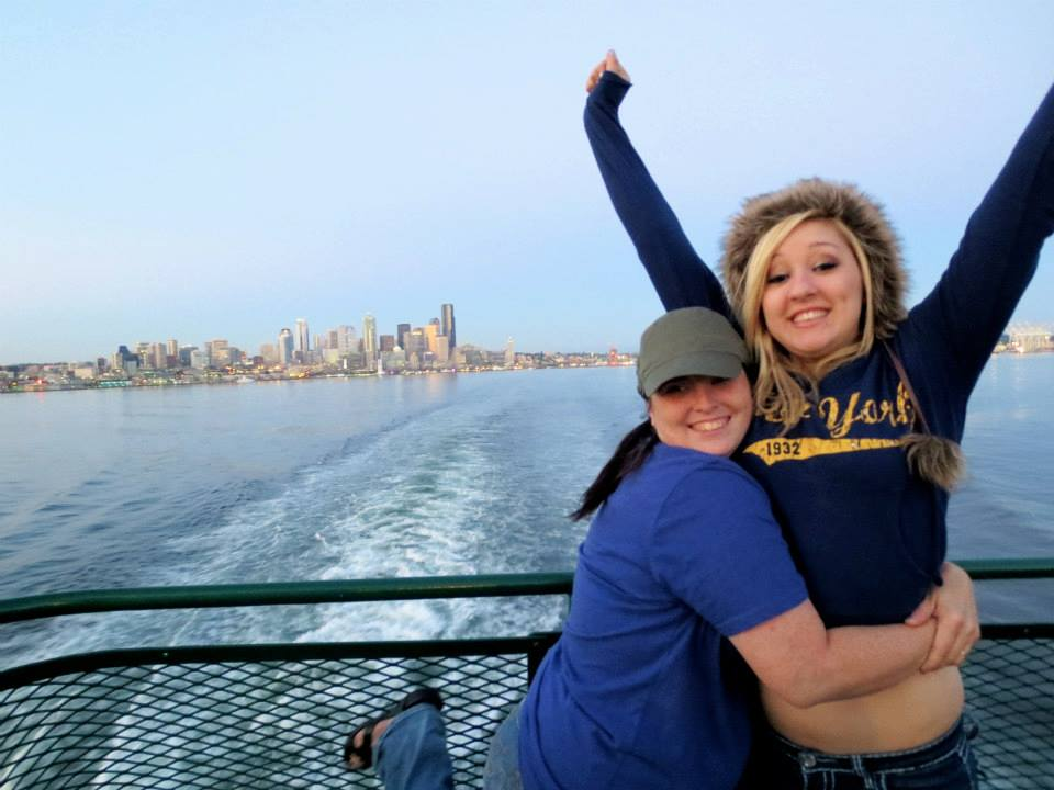 Kristina and Courtney on the ferry leaving Seattle