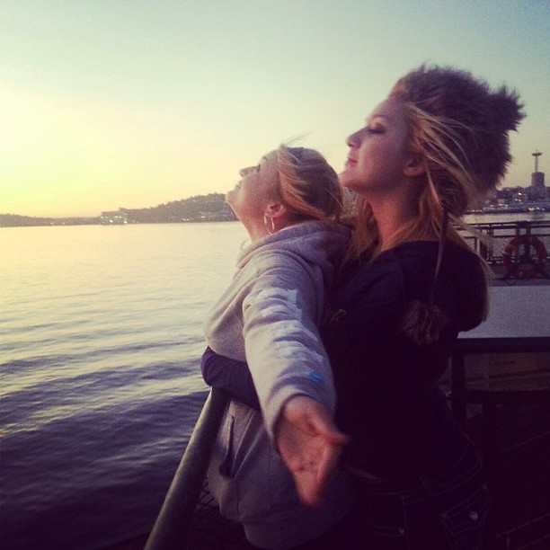 Courtney and Aspen playing Titanic on the Ferry