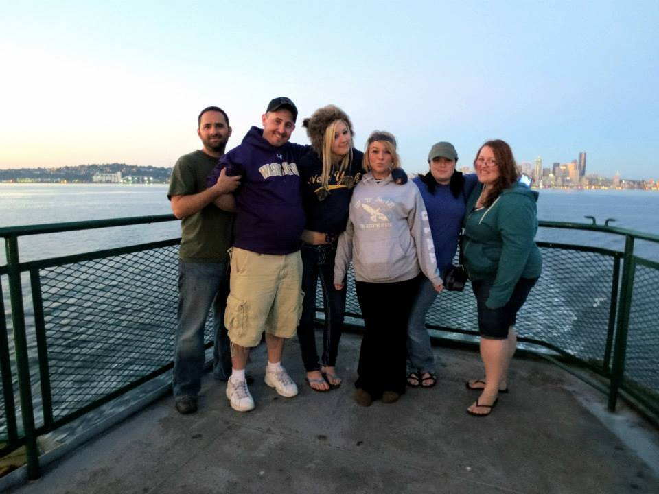All of us on the ferry in Seattle