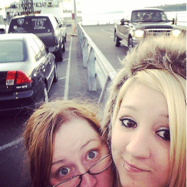 Courtney and Me waiting for the ferry.