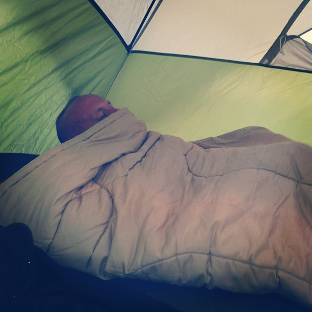 Josh changing in the tent