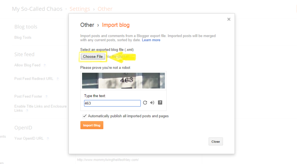 How to Import Your Backed Up Blogger Blog Step 4