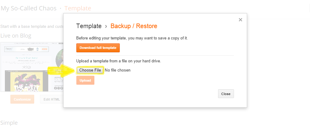 How to Import Your Backed Up Blogger Template Step 3