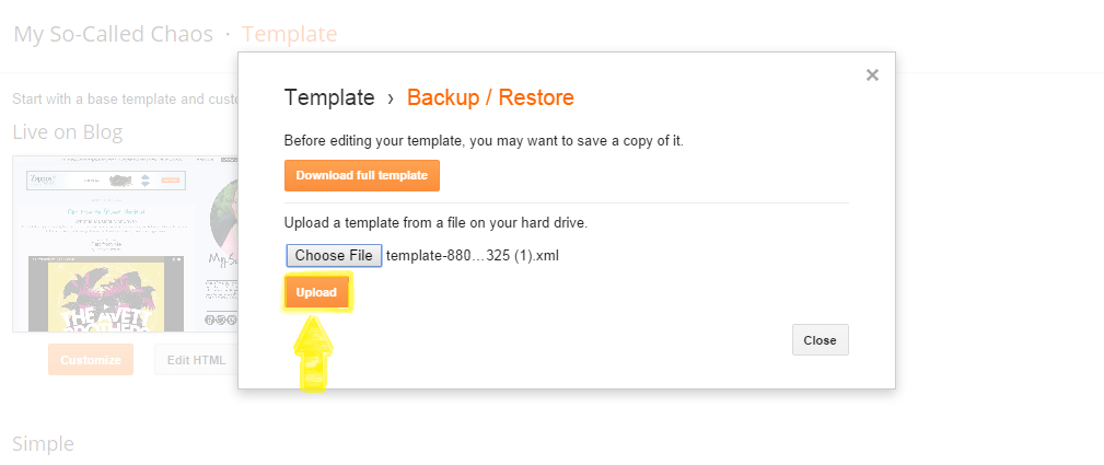 How to Import Your Backed Up Blogger Template Step 5