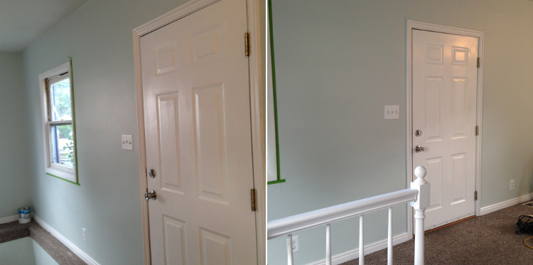 Living Room After - Sherwin Williams Sea Salt on the walls with Snowbound on the trim.