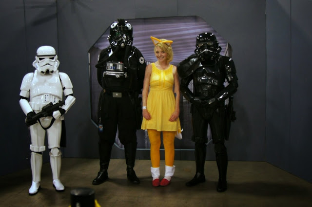 Heather from the Nerdy Fox cosplaying as Pikachew with some Storm Troopers