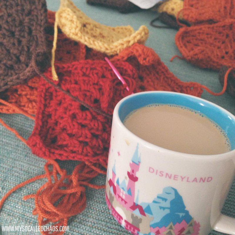 Crocheting Granny Squares and my cute new Starbucks Disneyland mug