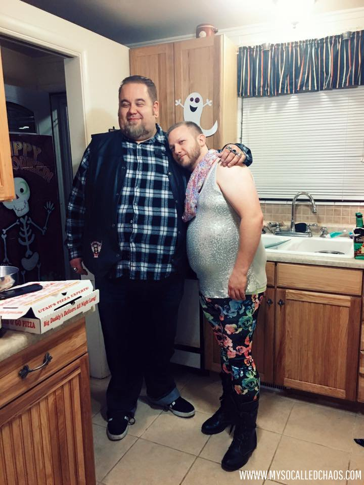 Jon, dressed as Julie, posing with Doose