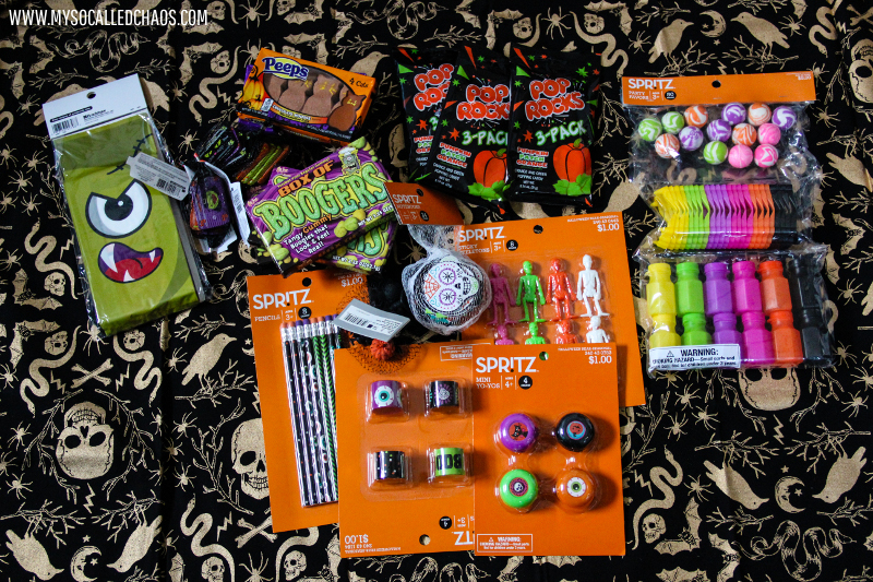 Goodies from the Target Dollar Spot for Halloween Goodie Treat Bags