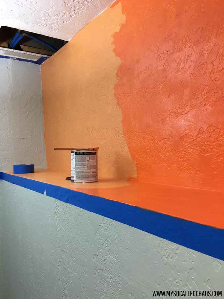 Sherwin Williams Sea Salt and Knockout Orange