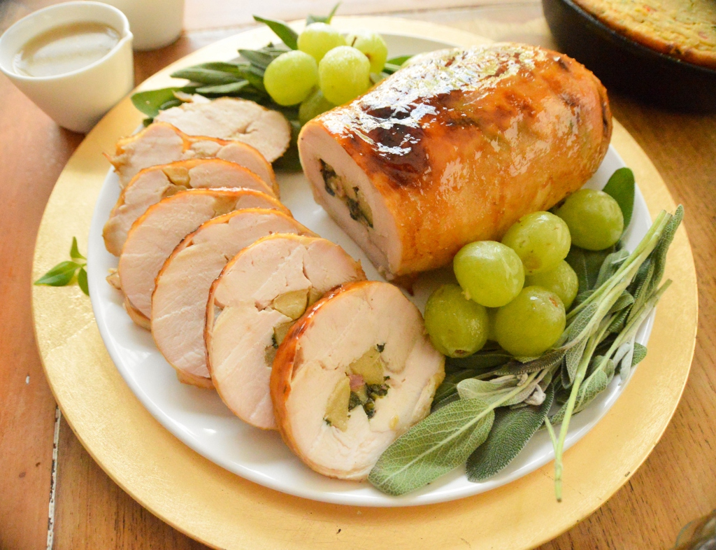 Spinach, Apples, and Bacon Stuffed Turkey Breast