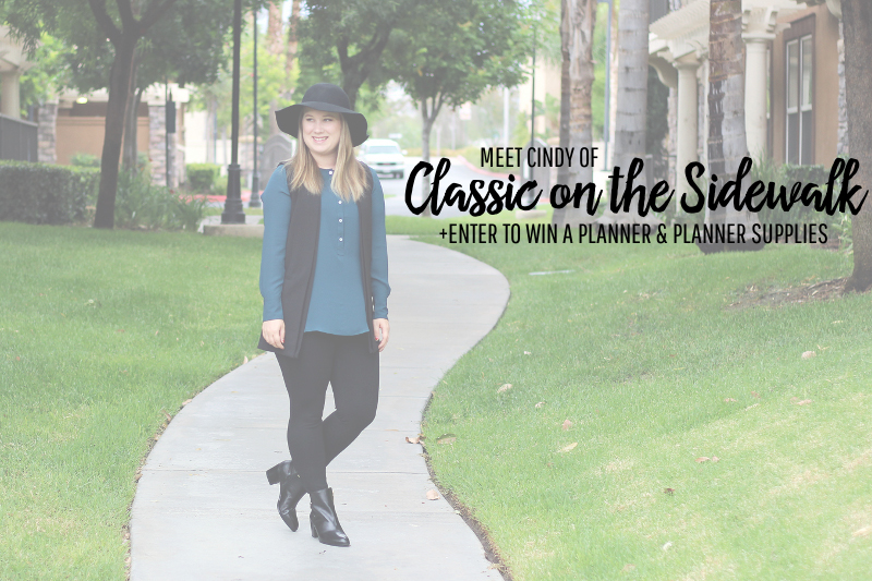 Meet Cindy of Classic on the Sidewalk + Enter to Win a Planner & Planner Supplies