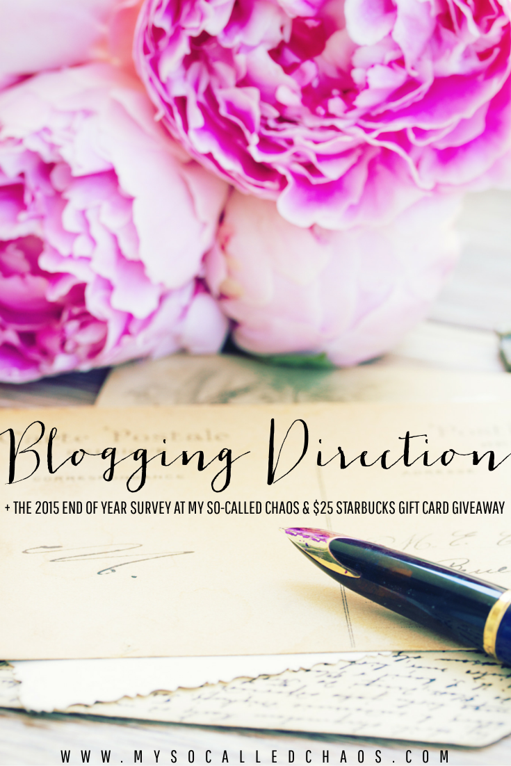 My Blogging Direction for 2016 + The 2015 End of Year Survey & A $25 Starbucks Giveaway