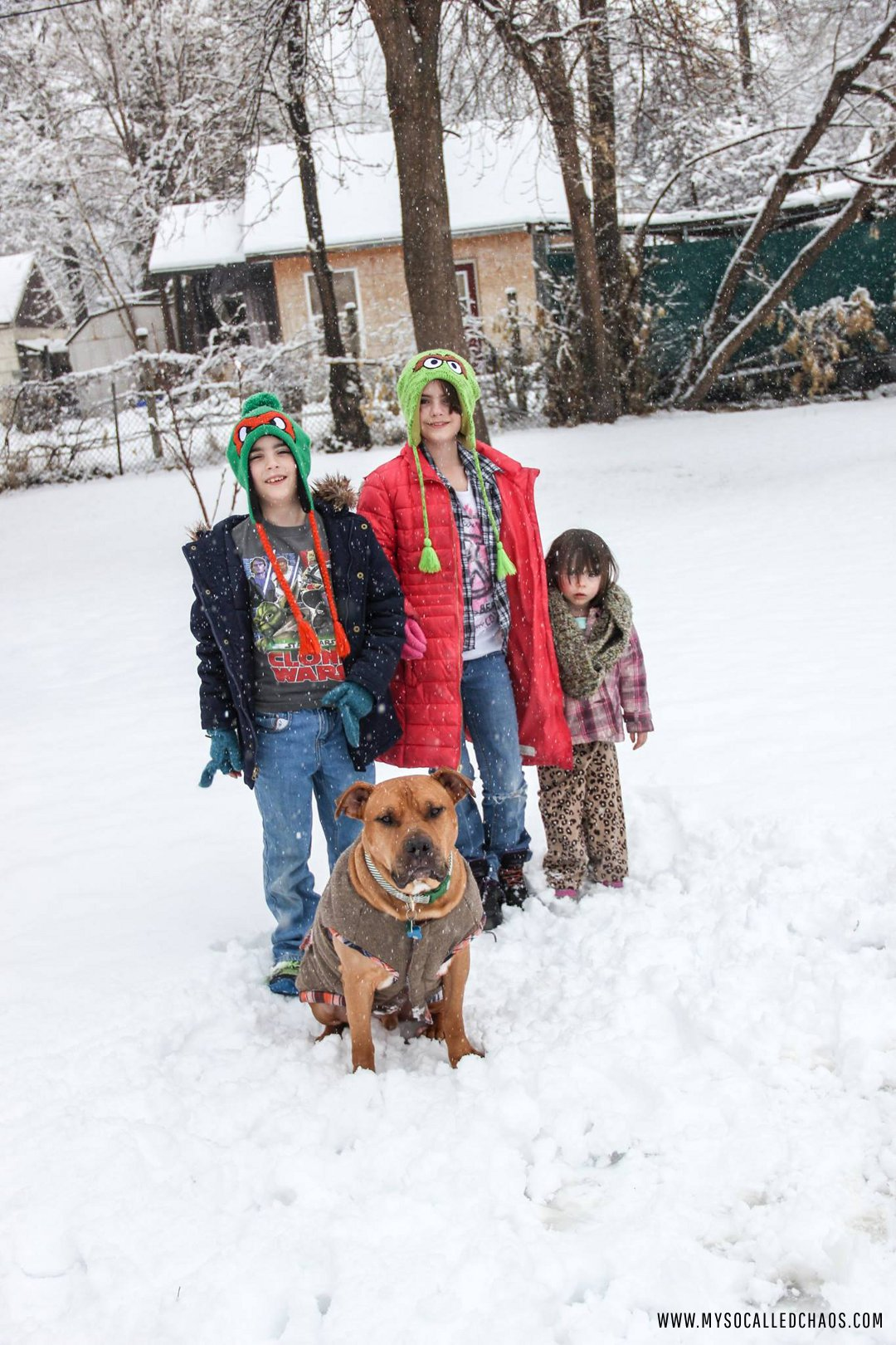 The godkids and Handsome Bub in the Snow