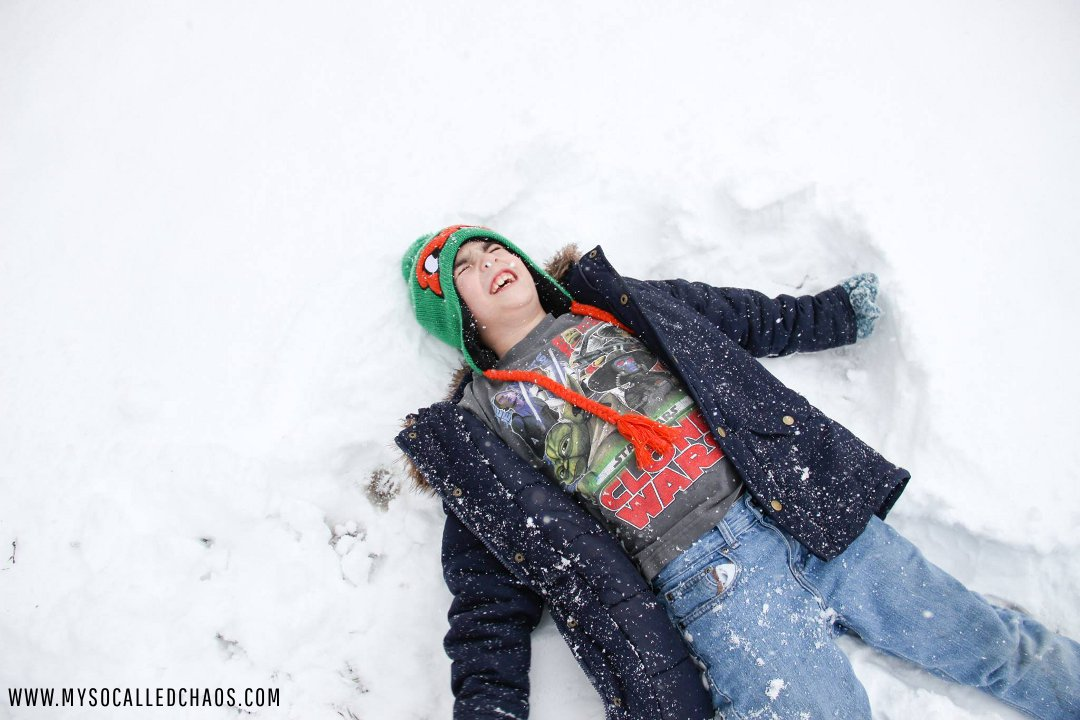 Kaden Making a Snow Angel