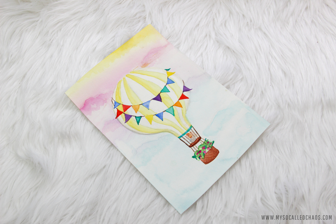 12 Days of Christmas Swap: Watercolor Hot Air Baloon