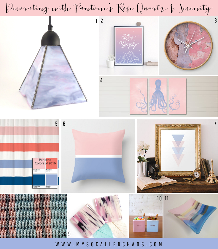Decorating using Pantone's 2016 Colors of the Year: Rose Quartz & Serenity