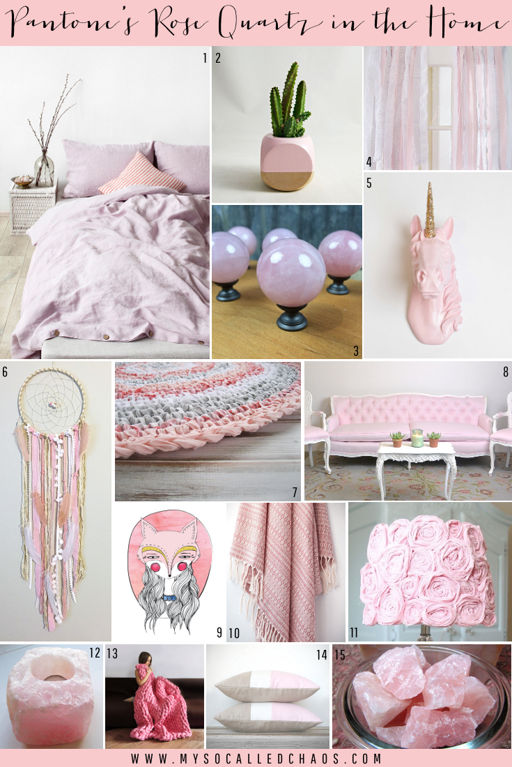 Handmade Home Decor in Pantone's Rose Quartz