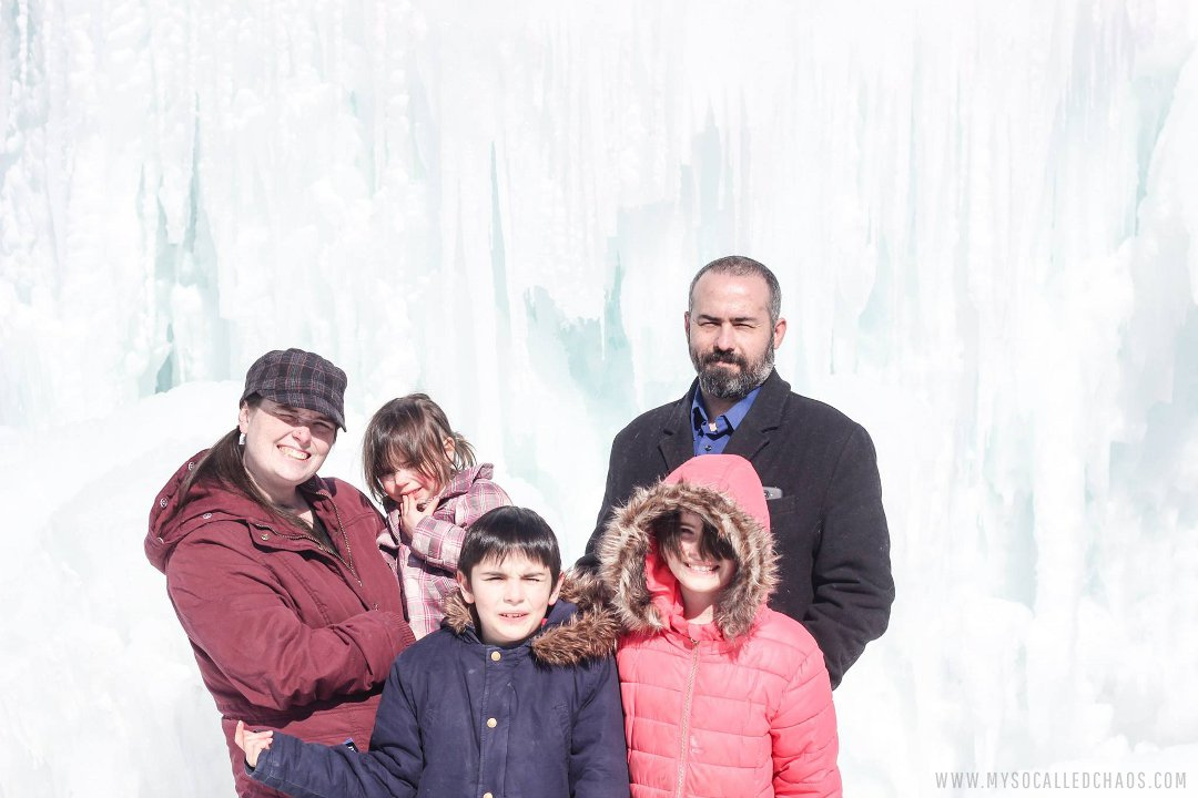 The Falkner Family at the Ice Castles in Midway, Utah