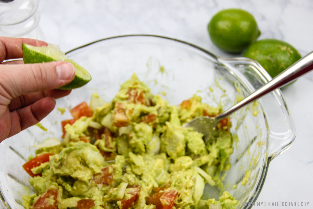 Add fresh lime for good flavor in Chunky Guacamole.