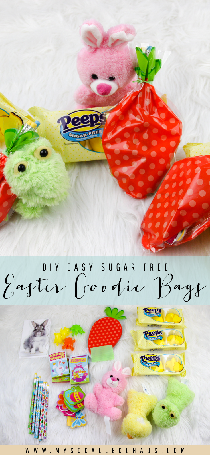 DIY Easy Sugar-Free Easter Goodie Bags with Sugar-Free PEEPS® | Want to give a cute Easter gift without upping the sugar intake? Have a little diabetic who wants to celebrate? These easy DIY Sugar Free Easter Gift Bags with PEEPS® are just the thing!