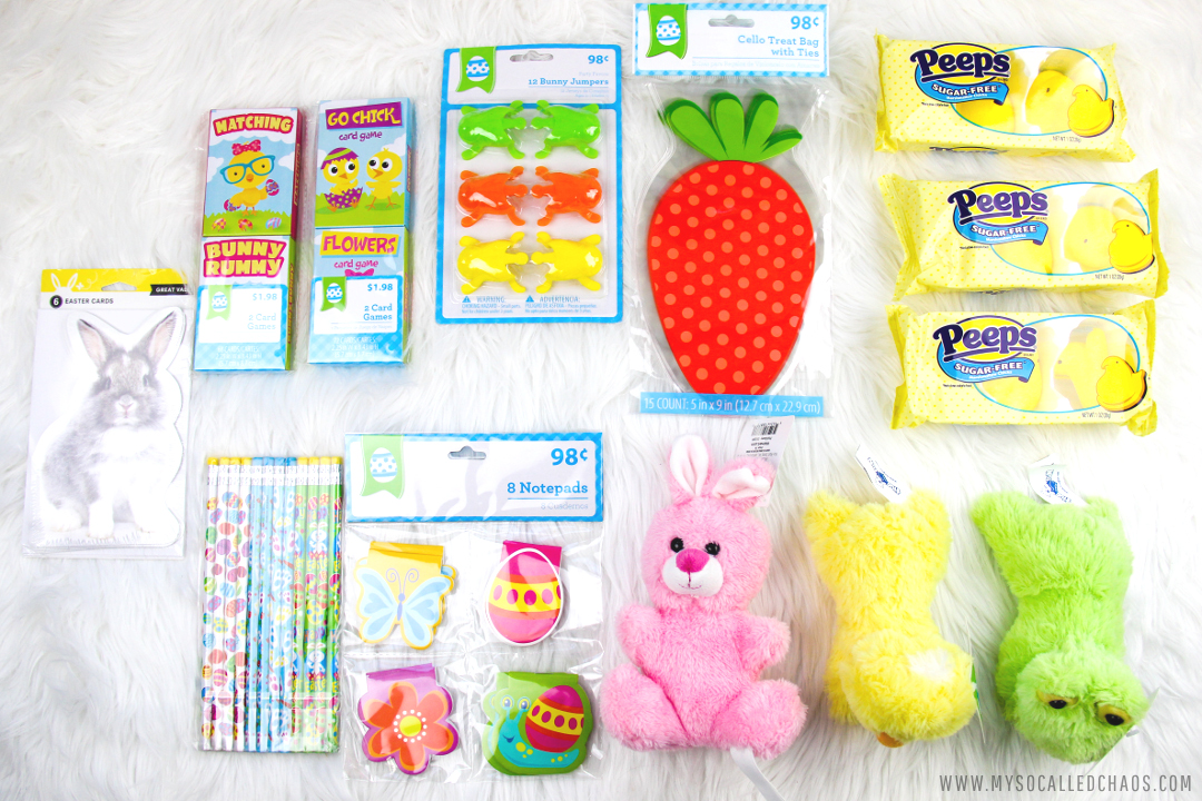 Supplies to make DIY Easy Sugar-Free Easter Goodie Bags with PEEPS®