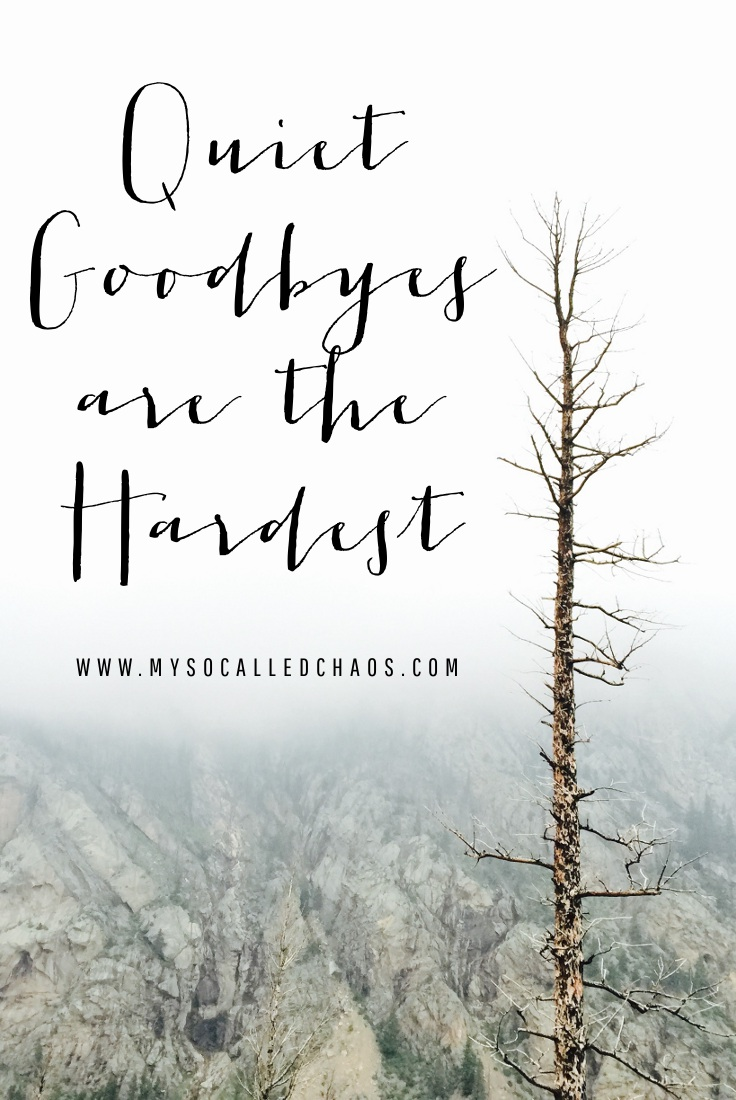 Quiet goodbyes are the hardest... But sometimes they are very necessary.