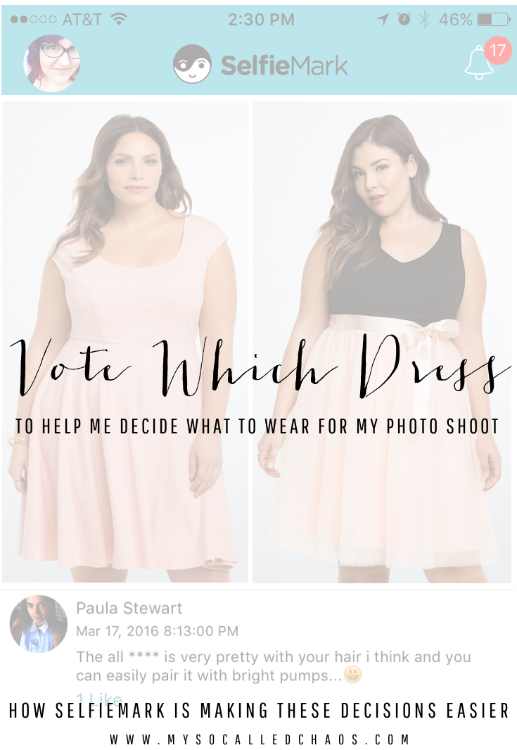 Vote Which Dress - Help me decide what to wear for my upcoming photo shoot! (Also, how SelfieMark is making these decisions easier)