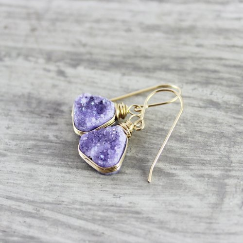 Violet Druzy Quartz Triangle Gold Filled Earrings