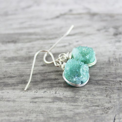 Turquoise Druzy Gemstone Sterling Silver Earrings