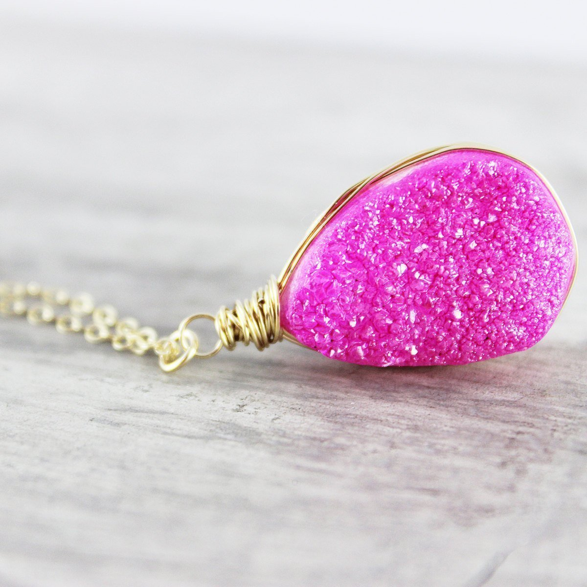 "Hot Pink Wire Wrapped Druzy Gold Necklace - 16"" Length"