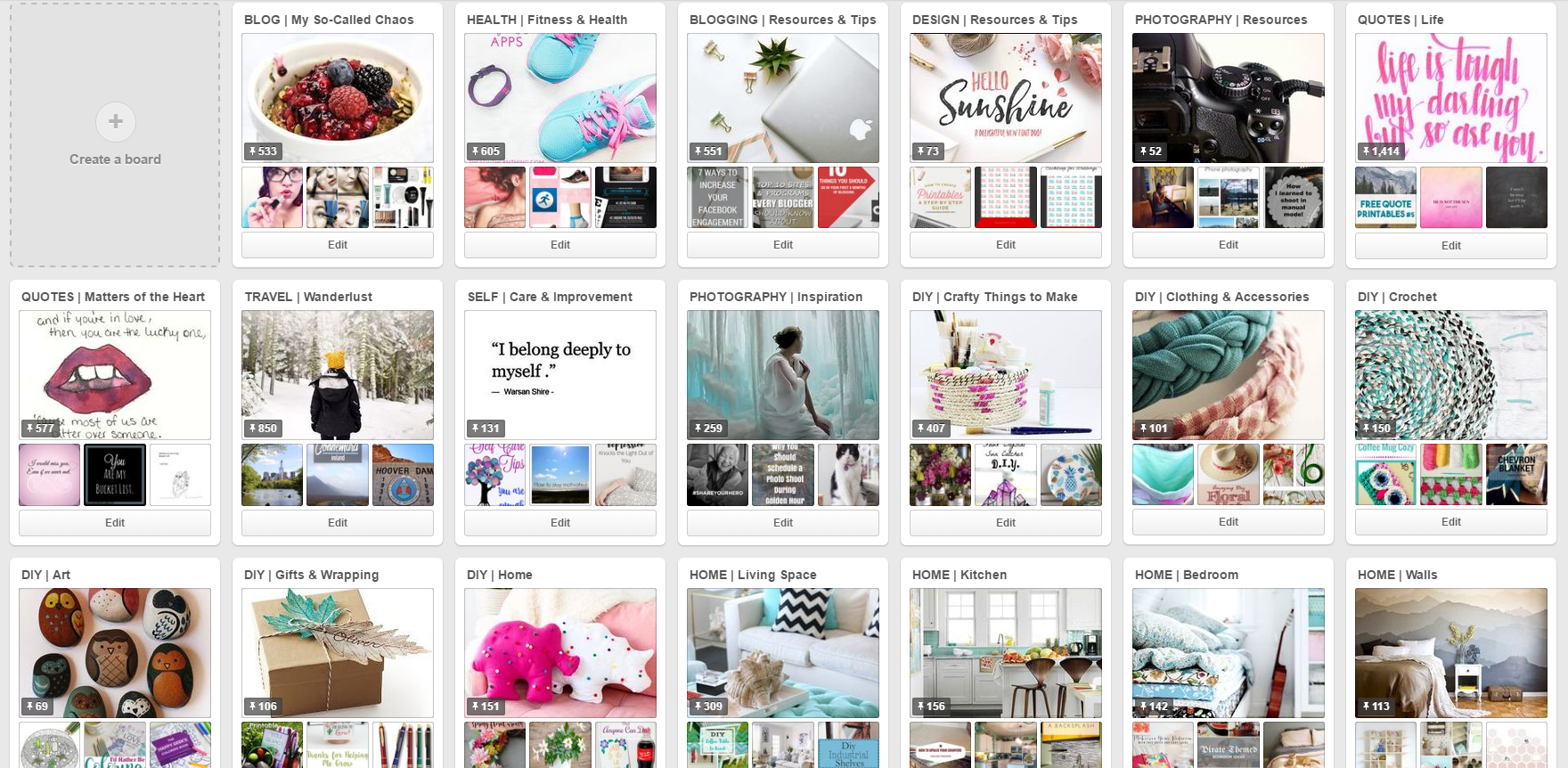 My Pinterest Profile and Boards