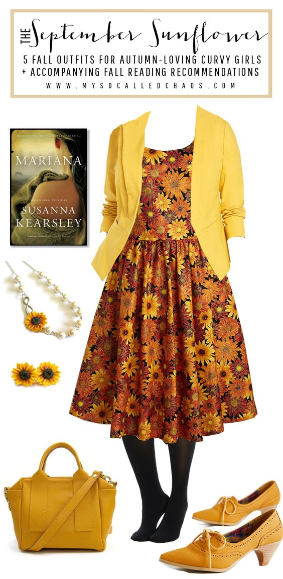 I love this cute sunflower look I put together for my Fall outfits post. I also really loved the book I paired with it-Mariana by Susanna Kearsley. Such an intriguing tale of time travel, historical fiction, and love. 5 Fall Outfits for Autumn-Loving Curvy Girls + Suggested Books #FallFashion #Books #PlusSizeFashion
