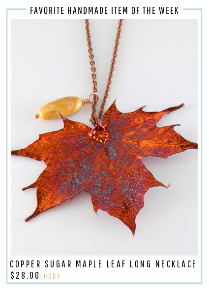 Copper Sugar Maple Leaf Pendant on 32