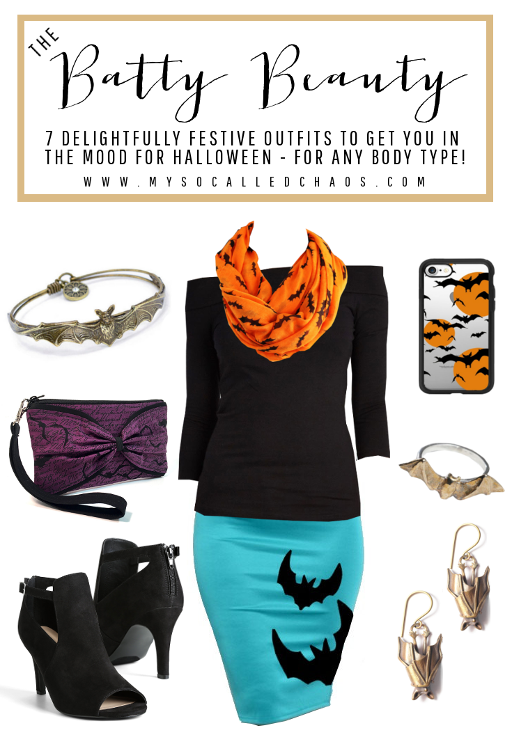 7 Delightfully Festive Halloween Outfits for Any Body Type: The Batty Beauty (Featuring fashion by Bruno & Betty, ModCloth, Edge by Design, Torrid, and more!)
