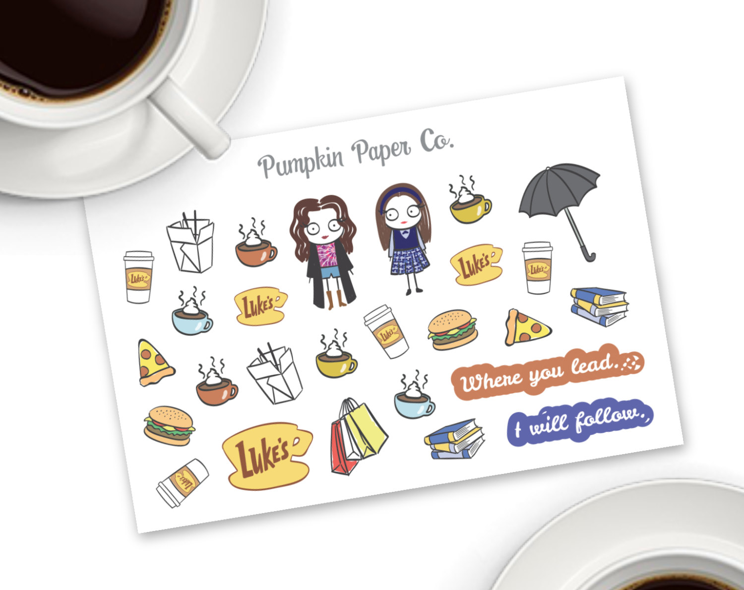 Gilmore Girls (inspired) planner stickers