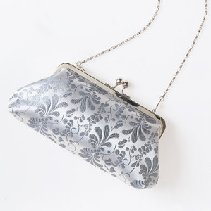 Handmade Silver Silk Clutch Bag from Martina Seligova
