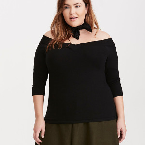 Off Shoulder Ribbed Sweater via Torrid