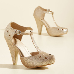 The Zest Is History Heel in Glittery Gold via ModCloth