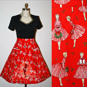 Plus Size Holiday Party Pinup Skirt from Psychedelic Pinup