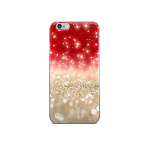 Red and Gold Sparkle Phone Case from Pixel Press Studio