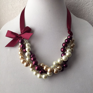 Twisted Ivory, Gold and Burgundy Pearl Necklace with Burgundy Ribbon Bow