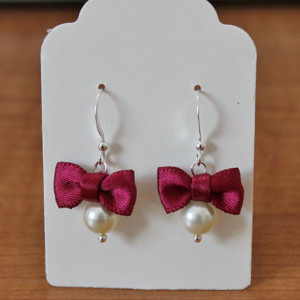 Ivory Pearl and Burgundy Bow Earrings