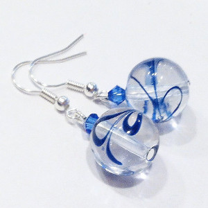 Blue Swirl Glass Bead Earrings