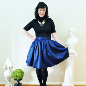 Navy Satin full gathered skirt
