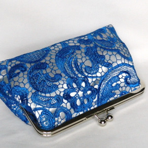 Royal Blue and Silver Lace Clutch