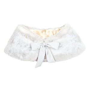 Marcie Faux Fur Bridal Wrap with Silk Bow - Opal